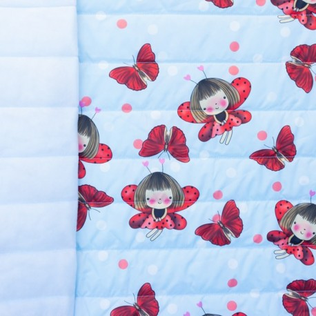 Nylon quilted lining fabric Ladybug - light blue and red x 15cm