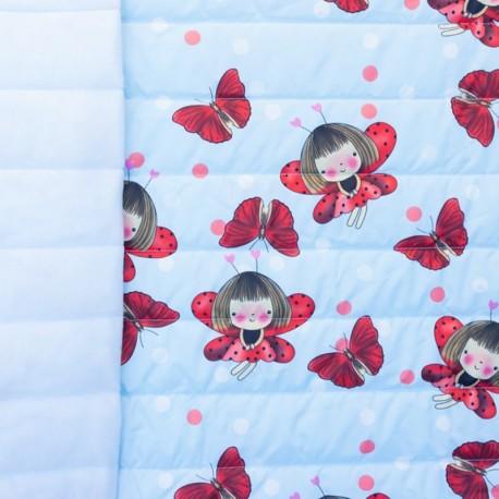 Tissu matelassé nylon doudoune Ladybug - bleu clair et rouge x 15cm