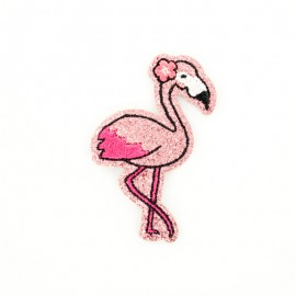 Glitter flamingo iron on patch