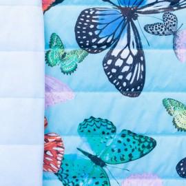 ♥ Coupon 80 cm X 150 cm ♥ Tissu matelassé nylon doudoune Butterfly - bleu ciel
