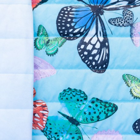 Nylon quilted lining fabric Butterfly - light blue x 40cm