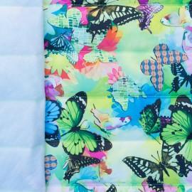 ♥ Coupon 110 cm X 150 cm ♥ Tissu matelassé nylon doudoune Psychédelik - vert et multi