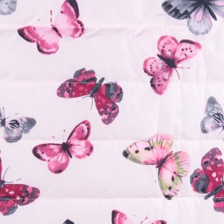 Tissu matelassé nylon doudoune Little butterfly - rose x 15cm