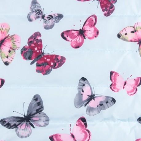 Tissu matelassé nylon doudoune Little butterfly - bleu ciel x 15cm