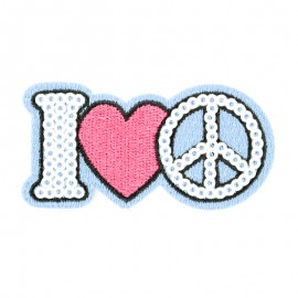 """I love peace"" iron-on patch Funny motif collection"