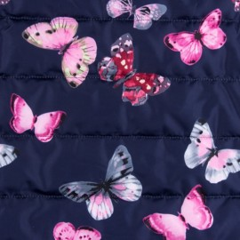 Nylon quilted lining fabric Little butterfly - navy x 15cm