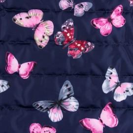 Tissu matelassé nylon doudoune Little butterfly - marine x 15cm
