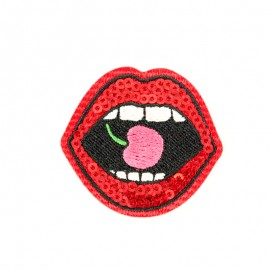 Cherry mouth iron-on patch Funny motif collection