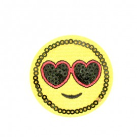 Smiley glasses iron-on patch Funny motif collection