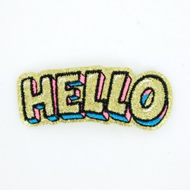 Glitter hello iron-on patch