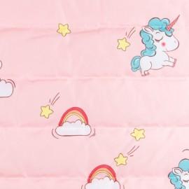 Tissu matelassé nylon doudoune Rainbow - rose x 10cm