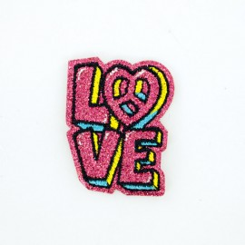 Glitter Love iron-on patch
