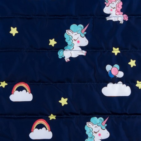 Nylon quilted lining fabric Rainbow - navy x 10cm