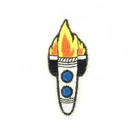 Glitter rocket in space iron-on patch