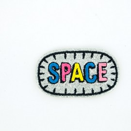 Glitter saucer in space iron-on patch