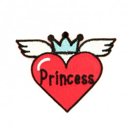 Princess heart iron-on patch