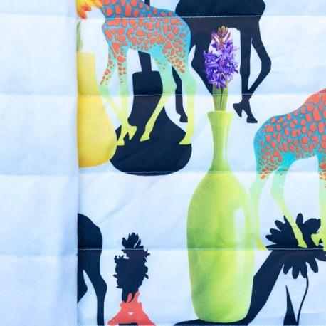 Tissu matelassé nylon doudoune Girafe - blanc x 40cm