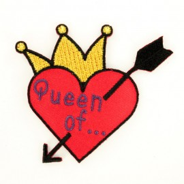 Queen of hearts iron-on patch