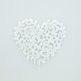 Thermocollant Coeur broderie blanc