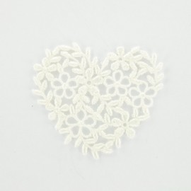Eggshell embroidered heart iron-on patch