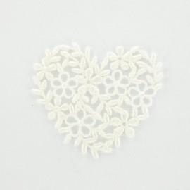 Thermocollant Coeur broderie blanc cassé