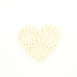 Natural embroidered heart iron-on patch