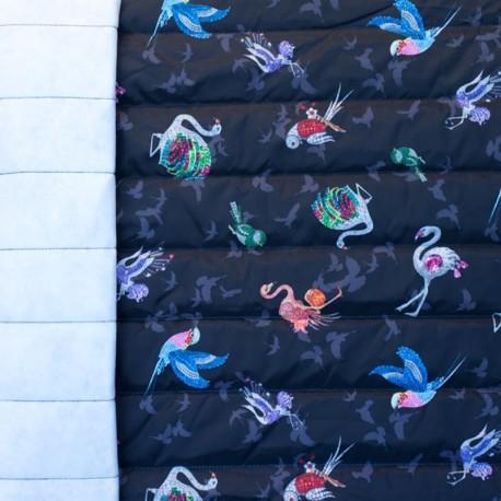 Tissu matelassé nylon doudoune Animaux bijoux - noir x 10cm