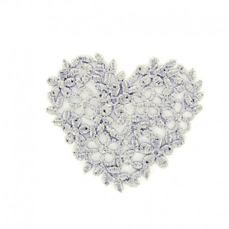 Thermocollant Coeur broderie gris