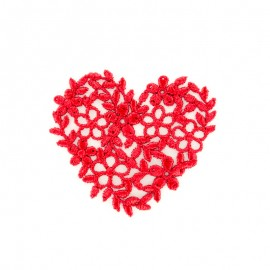 Red embroidered heart iron-on patch