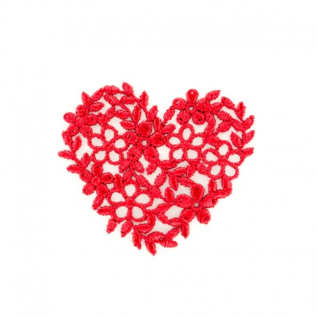 Thermocollant Coeur broderie rouge
