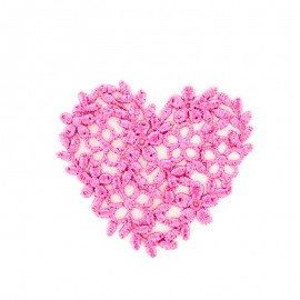 Fuchsia embroidered heart iron-on patch