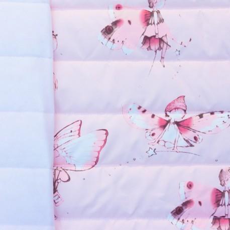 Tissu matelassé nylon doudoune Elfes - rose x 12cm