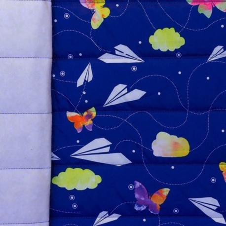 Nylon quilted lining fabric Paper plane - electric blue x 10cm