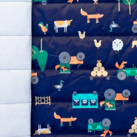 ♥ Only one piece 200 cm X 150 cm ♥ Nylon quilted lining fabric Farmer fox - navy and multi