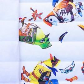 ♥ Coupon 70 cm X 150 cm ♥ Tissu matelassé nylon doudoune Oiseaux militaires - blanc