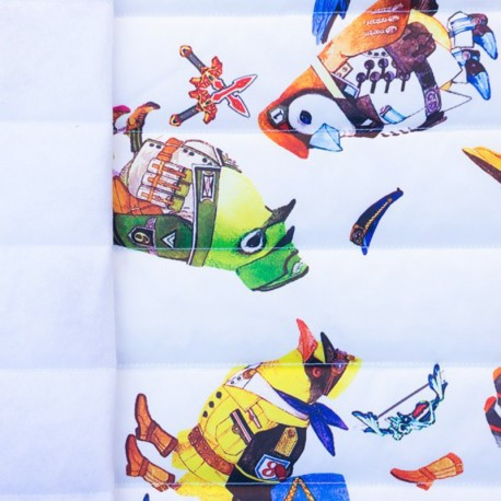 Nylon quilted lining fabric Military birds - white x 40cm