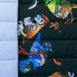 Tissu matelassé nylon doudoune Oiseaux militaires - noir x 40cm