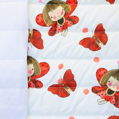 Nylon quilted lining fabric Ladybug - ecru and red x 15cm
