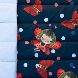 Tissu matelassé nylon doudoune Ladybug - bleu nuit et rouge x 15cm