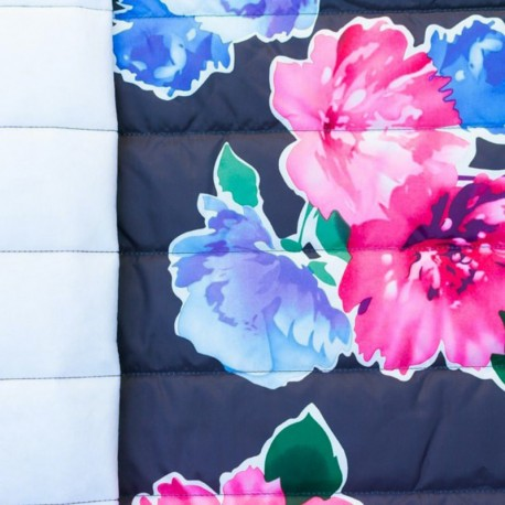 Nylon quilted lining fabric Flowers - navy x 40cm