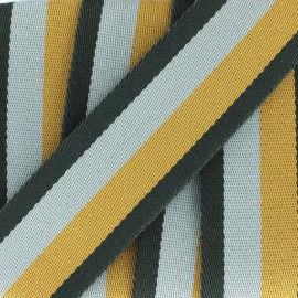Striped duo strap - grey / mustard x 1m