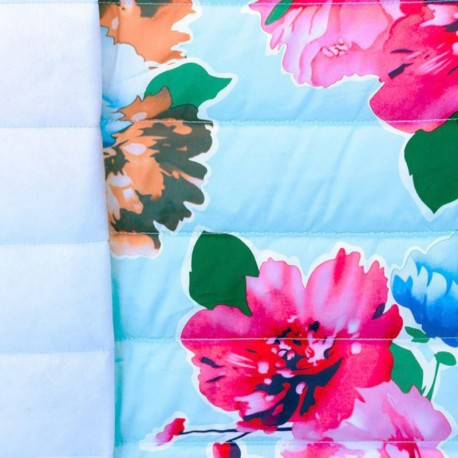 Nylon quilted lining fabric Flowers - light blue x 40cm