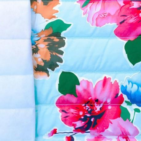 Tissu matelassé nylon doudoune Flowers - bleu ciel x 40cm