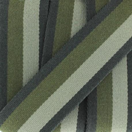 Sangle rayure duo - gris/kaki x 1m