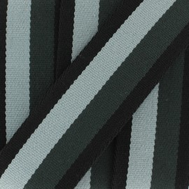 Striped duo strap - grey / black  x 1m