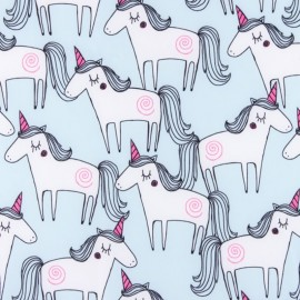 Smooth Water-repellent Softshell fabric Unicorn - light blue x 10cm