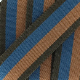 Striped duo strap - blue/ brown x 1m
