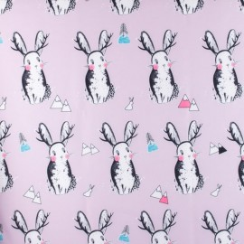 Smooth Water-repellent Softshell fabric Rabbit - rose x 15cm