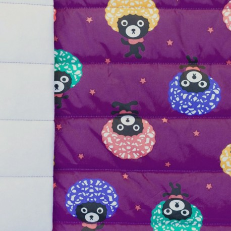 Nylon quilted lining fabric Afro bear - purple x 10cm