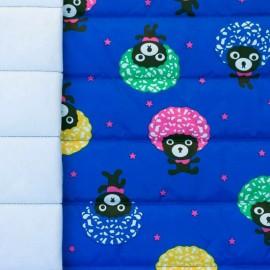 Tissu matelassé nylon doudoune Funky bear - bleu électrique et multi x 10cm